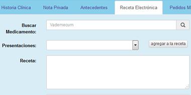Receta electronica con vademecum integrado - Historia Clinica RAS Salud
